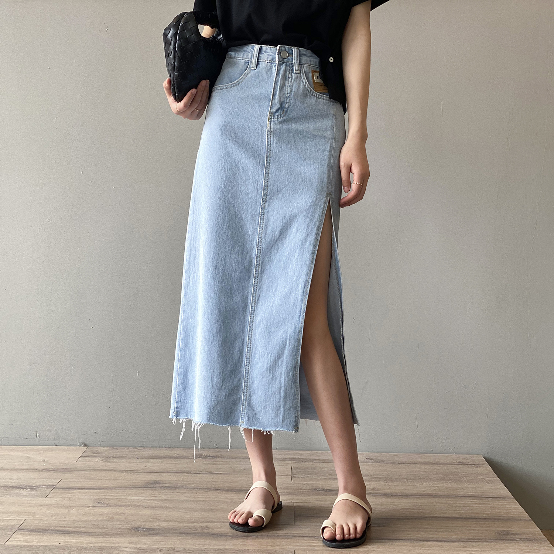 Splited Denim Skirt Women's 2021 Summer New High Waist Blue Black Vintage Loose Thin Hem A-line Long  Skirt