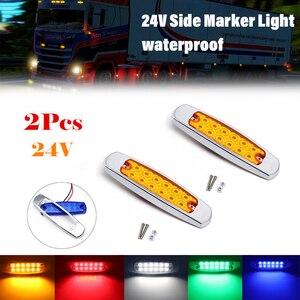 Image 1 - 2Pcs 12LED 24V צד סמן אורות אחורי עמילות אור מחוון איתות מנורות משאית קרוואן טרקטור אוטובוס ואן סירה עמיד למים