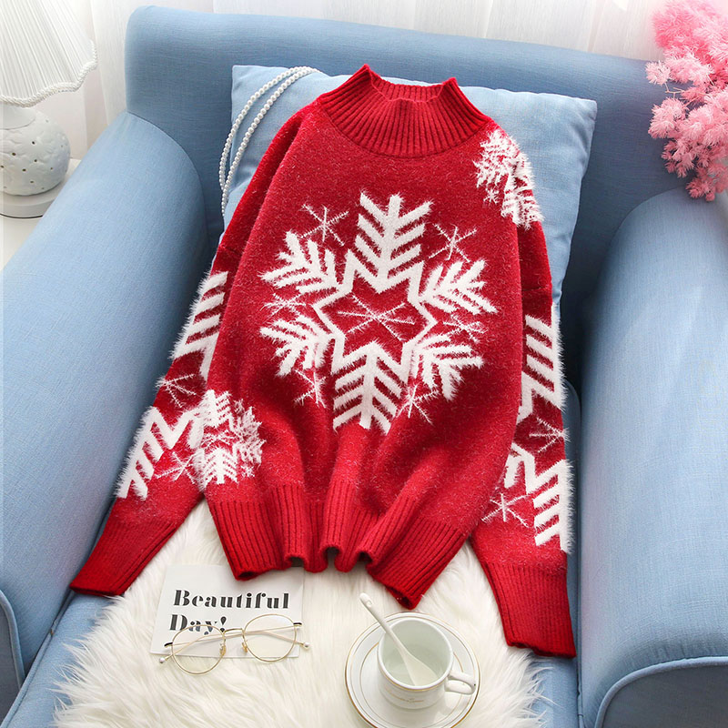snowflake knitted women sweater and pullovers red slim thicken warm winter pulls fashion outwear coat tops
