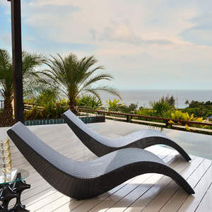 Outdoor lounger balcony leisure wicker chair outdoor patio lounger pool swimming pool bed folding rattan beach chair