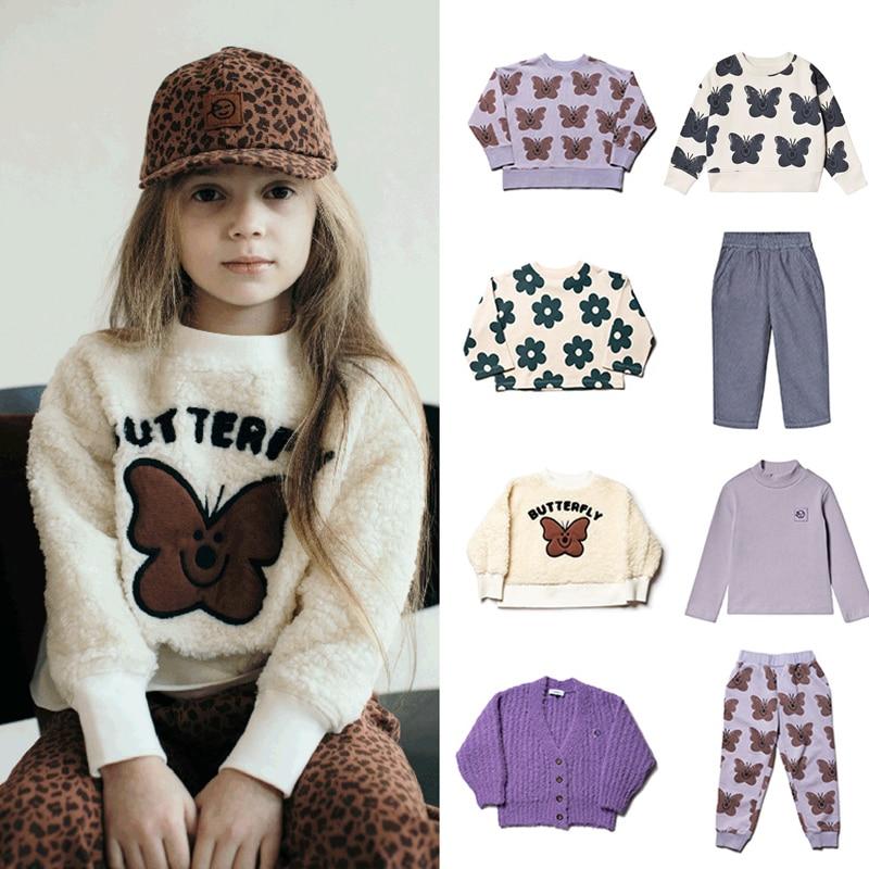 Kids Clothes Set 2021 Wynken New Autumn Winter Boys Girls Dresses T-shirts Flower Print Sweatshirts Baby Pants Fashion Outwear 1