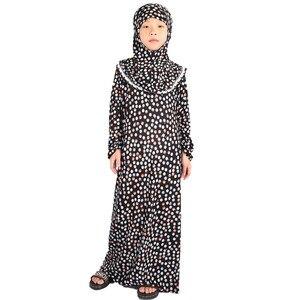 Image 2 - 子供のためのイスラム服女の子アバヤ子ヒジャーブイスラム教祈り子供のためのカフタンropaアラブmujerラマダンローブドバイ