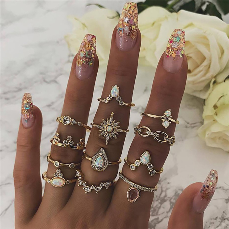 Vintage Gold Color Crystal  Star Moon Rings Set For Women Boho Knuckle Finger Ring Female Fashion Jewelry Accessories 2020 New 75