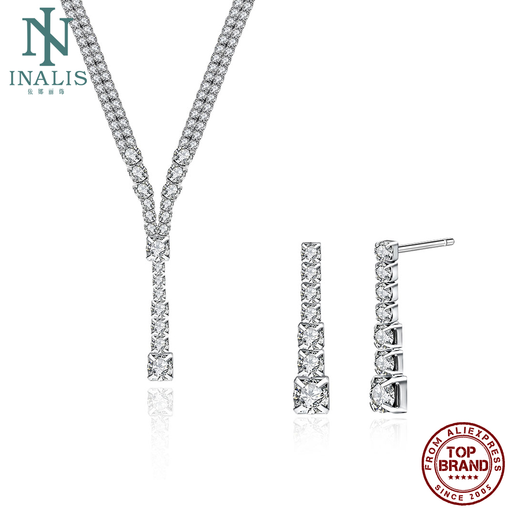 INALIS Wedding Formal Occasion Jewelry Sets For Women Inlaid romantic Full crystal Necklace And Earrings Sets Copper Jewelry