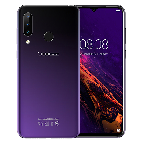 DOOGEE N20 мобильный телефон, отпечаток пальца, 6,3 дюймов, FHD+ дисплей, 16 МП, тройная задняя камера, 64 ГБ, 4 Гб, MT6763, четыре ядра, 4350 мАч, мобильный телефон LTE - Цвет: Purple