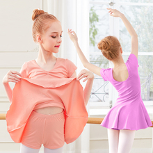 Girls Ballet Leotards Dress Children Costumes Two Piece Seperates Dress&Shorts Short Sleeve Dance Wear