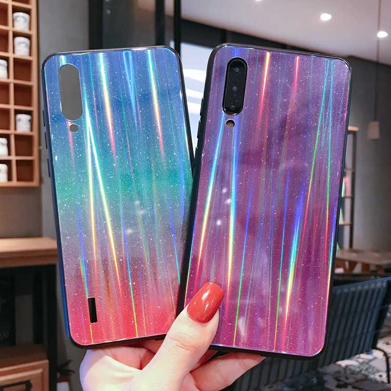 Case For Xiaomi Mi 8 SE 9 Lite A3 Redmi 7A Note 7 8 K20 Pro Bling Glitter Laser Sequins Gradient Tempered Glass Phone Cover