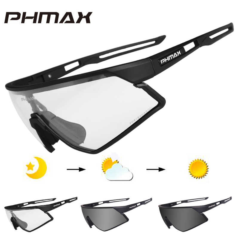 PHMAX Photochromic Cycling Glasses UV400 Outdoor Sports Sunglasses Anti Glare Lightweight Bike Cycling Eyewear Myopia Frame 1
