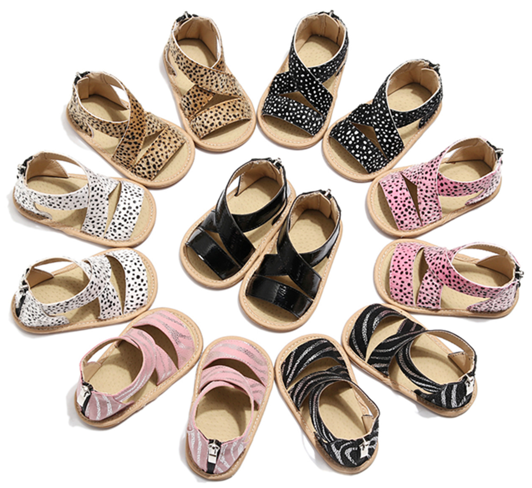 2020 European And American Popular Leopard Print Baby Sandals Infant Toddler Crib Shoes Soft Baby First Walkers Baby Moccasins