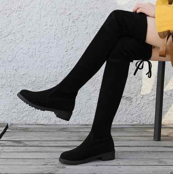 NAUSK Oberschenkel Hohe Stiefel Weibliche Winter Stiefel Frauen Über Das Knie Stiefel Flache Stretch Sexy Mode Schuhe 2018 Schwarz Botas mujer