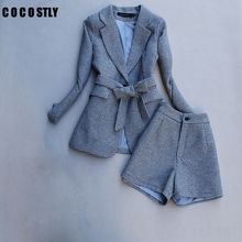 autumn spring long sleeve jacket coat women outwears plaid tweed shorts suit wom