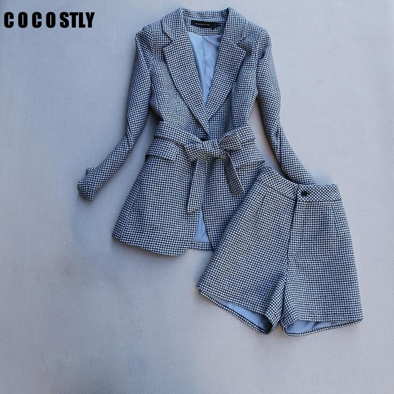 autumn spring long sleeve jacket coat women outwears plaid tweed shorts suit women 2 pieces sets women suits clothes