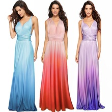 Elegant Graduated Color Convertible dress Women Wedding Evening Party Dress Multi Way Wrap Backless Pleated Long