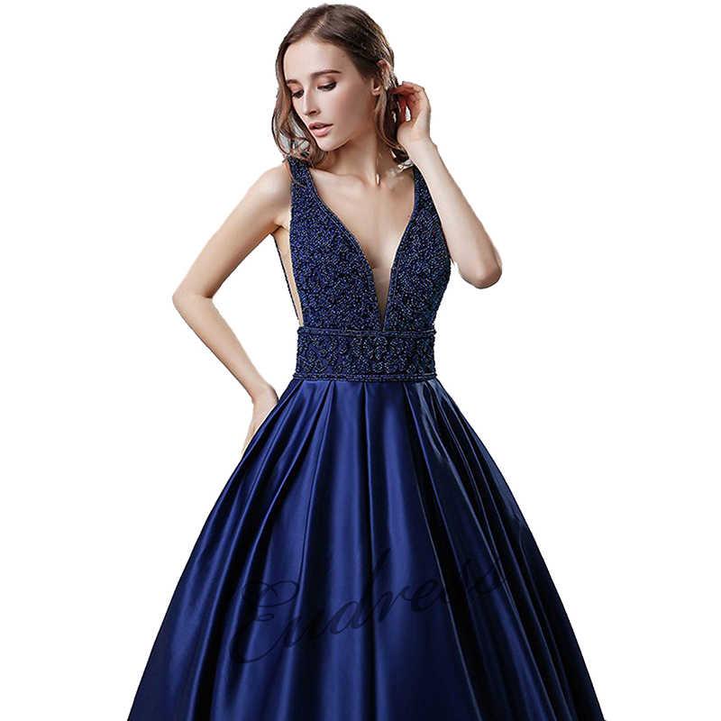 2019 eleganckie V Neck niebieskie przyjęcie suknia Satin Sexy suknie balowe obszywane koralikami Plus rozmiar długie vestido festa formalne długie suknie wieczorowe
