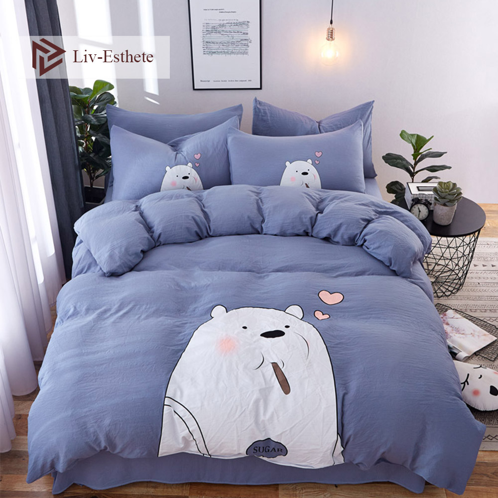 Liv-Esthete Love White Bear Cartoon Bedding Set Blue Duvet Cover Bedspread Flat Sheet Double Queen King Bed Linen For Adult Kids