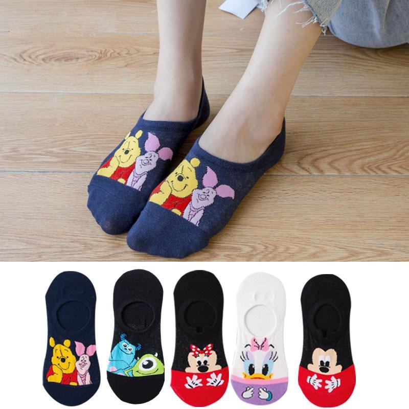 5 Pairs Summer Socks Cotton Invisible Socks Cartoon Animal Mickey Mouse Duck Funny Ankle Socks Women Socks Boat Sock Size 35-40 2
