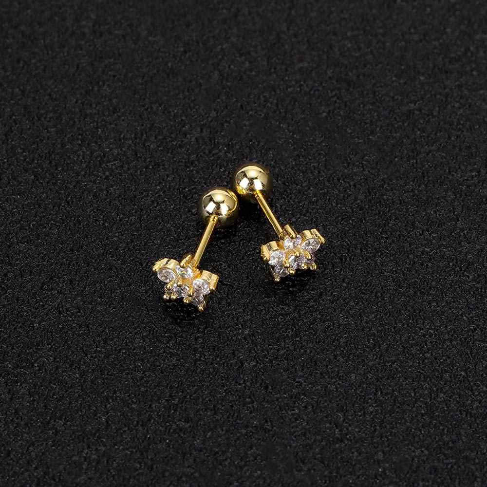 ジルコン花軟骨耳スタ軟骨ピアスイヤリングファッションジュエリーセクシーな女の子珠らせんステンレス鋼のイヤリング