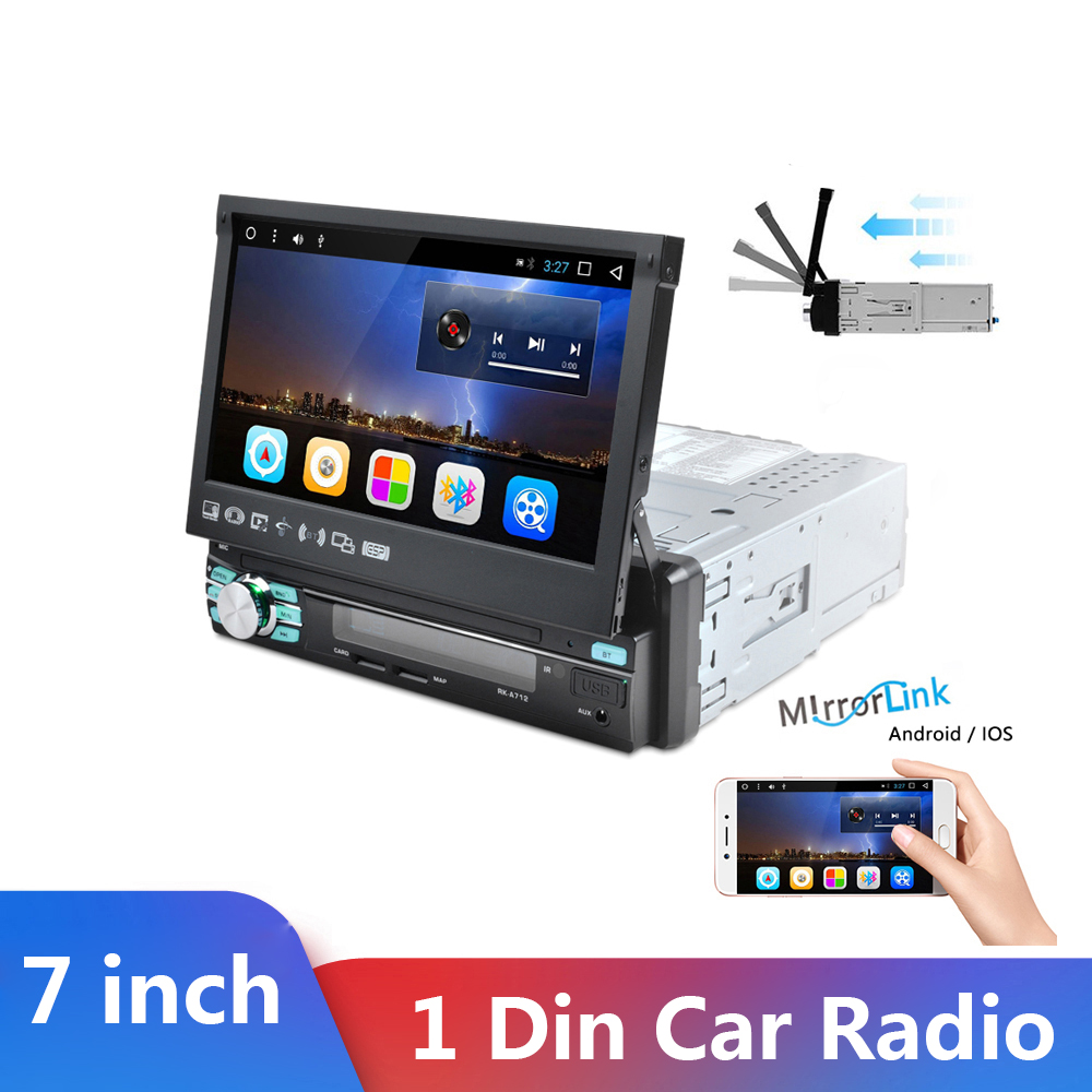 One Din Car radio MP5 Player 1 Din Car Audio Stereo Multimedia 7 inch HD Retractable Autoradio Bluetooth FM USB SD AUX-IN image