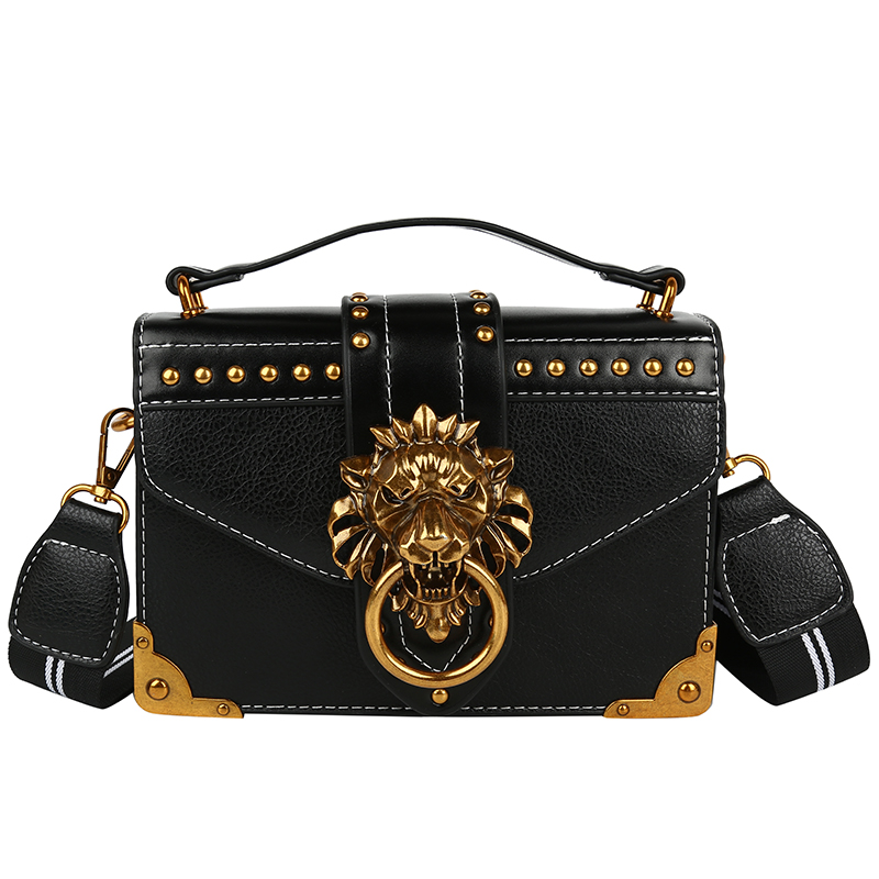 Hc954353e3d114237855a426ca28d70f7F - Female Fashion Handbags Popular Girls Crossbody Bags Totes Woman Metal Lion Head  Shoulder Purse Mini Square Messenger Bag