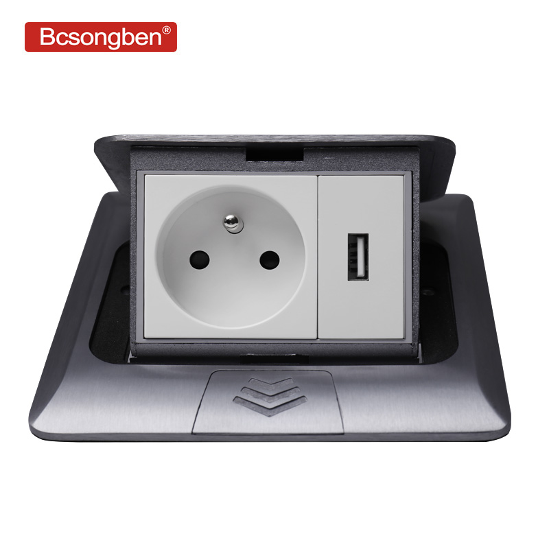 Bcsongben All Aluminum Silver Panel Pop Up Floor Socket 16A French Standard Power Outlet With USB Charging Port 5V 1A