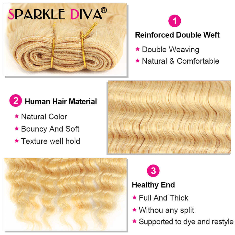 30 32 Inch 613 Diepe Golf Bundels Blonde Menselijk Haar Bundels Remy Human Hair Extension 1/3/4 Pc Braziliaanse haar Weave Weave Bundels
