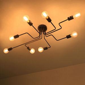 Image 2 - בציר תליון אורות מרובה מוט תליון מנורות ברזל יצוק תקרת מנורת E27 הנורה Lamparas לבית גופי תאורה