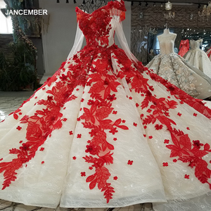 Image 1 - LS09849 red 3d flowers evening dress v neck long tulle sleeve off shoulder shiny evening gown with train 100% real as photos