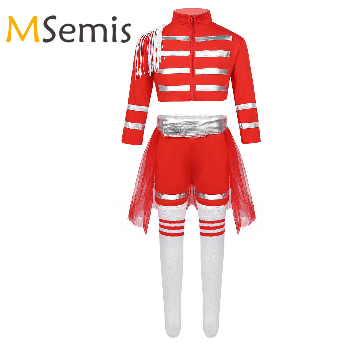 Kids Girls Gymnastics Cheerleading School Uniform Costume Outfit Crop Top With Shorts Mesh Skirt Socks Set Cosplay Fancy Dress