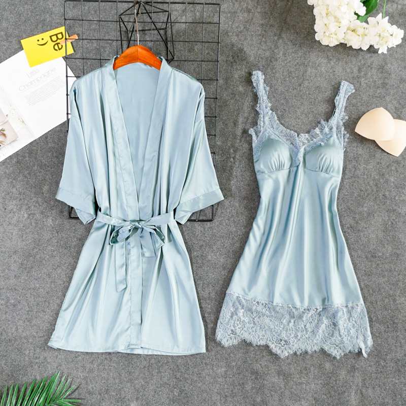 Cyan-Blue Nightgowns Women Sexy Nightwear Lace Camisola Lingerie Women's New Sleep Dress With Robe Nighty Wedding Nightdress