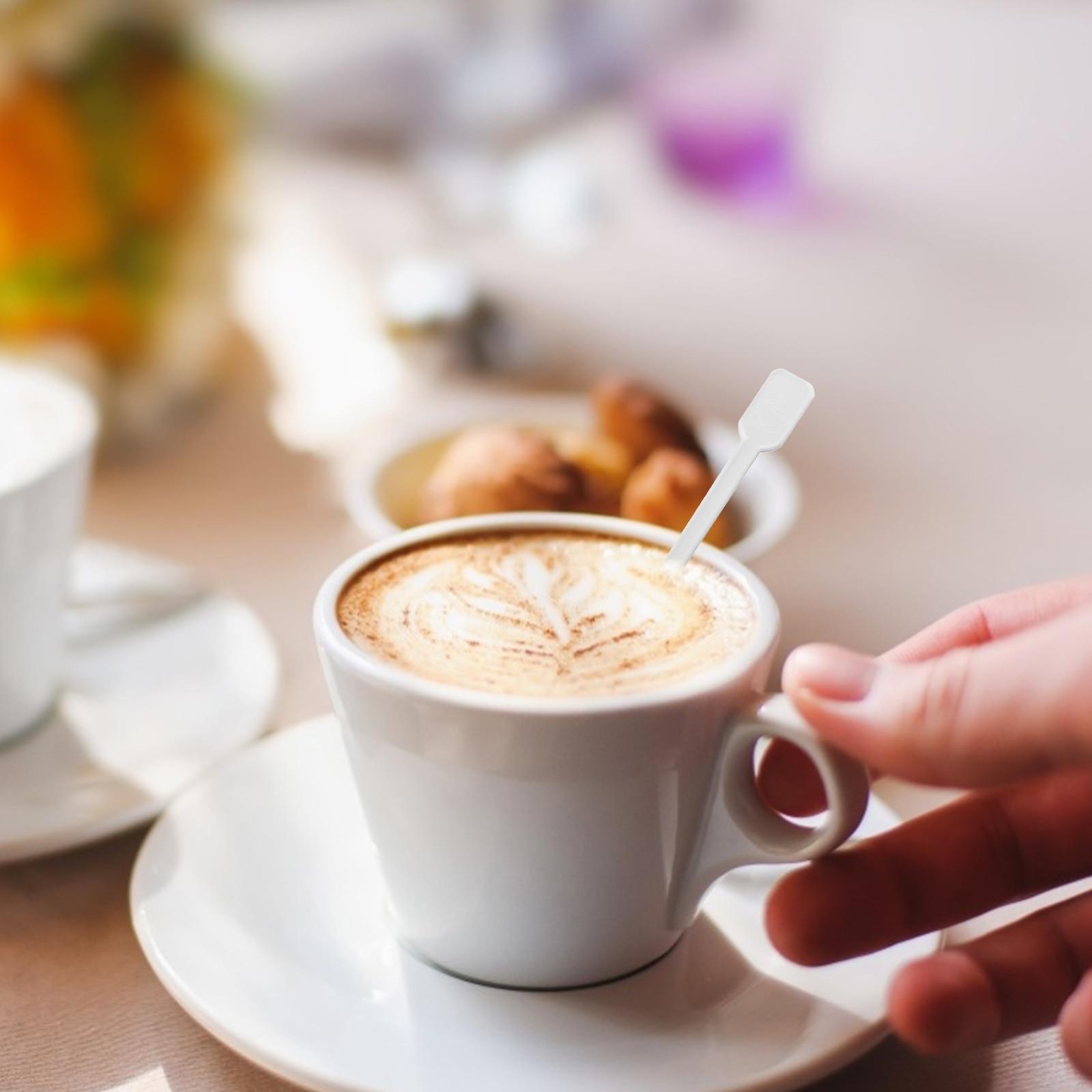 1000PCS Disposable Plastic Coffee Spoon Mini Plastic Tea Coffee Blender Spoon Stirring Rod Coffee Soup Spoon Tea Stirrer