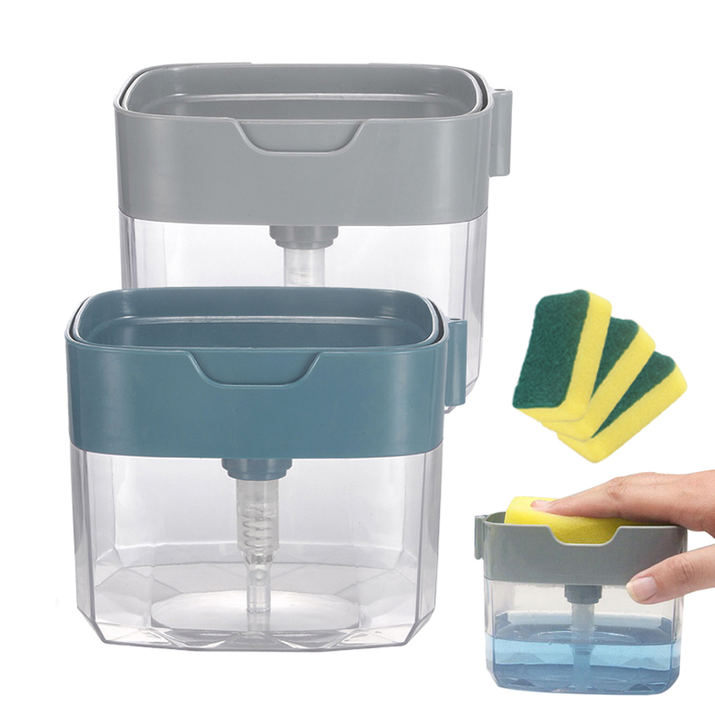 Soap Dispenser Kitchen Dish Soap Pump Box with Sponge Cleaning Liquid Pressing Container Home Cleaner Tool 2 in 1|Liquid Soap Dispensers|   - AliExpress