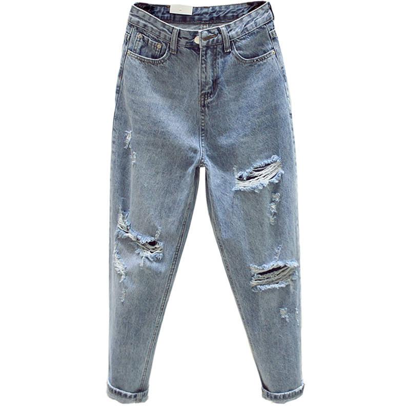 Ff1003 2019 New Autumn Winter Women Fashion Casual Denim Pants Boyfriend Hole Womens Jeans High Waisted Jeans
