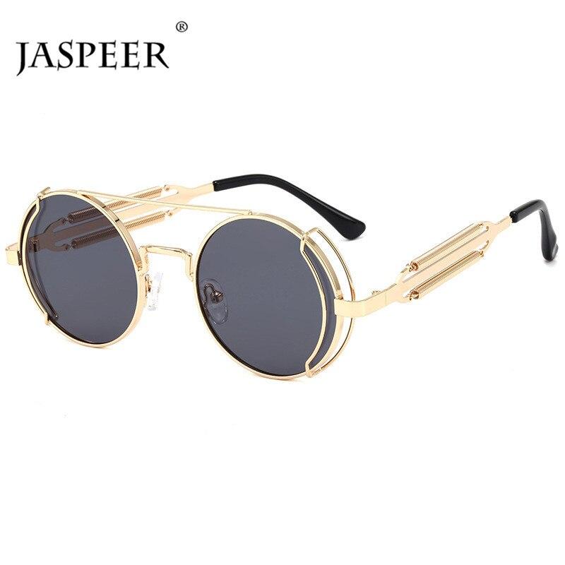 JASPEER Steam Punk Sunglasses Women Round Lens Sun Glassess Fashion Goggle Sunglasses Men Ladies UV400 Eyewear