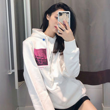 Autumn 2019 Black Block Limited Hat and Guard Coat Print Casual Hooded Fashion Sweatshirt Women