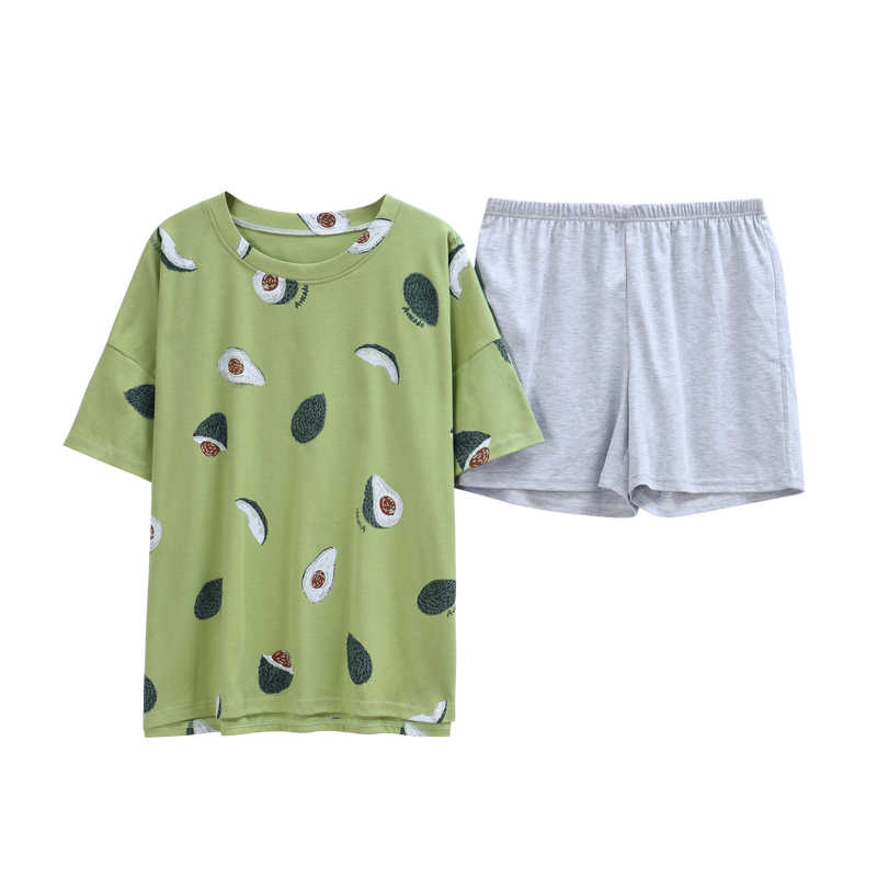 BZEL 여성을위한 녹색 잠옷 세트 러블리 아보카도 패턴 잠옷 100% 코튼 쇼트 홈웨어 핫 세일 여성 속옷 피자