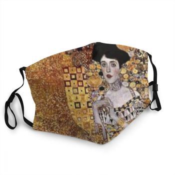 Adele Bloch Reusable Face Mask Unisex Gustav Klimt Painting Dustproof Protection Cover Respirator Mouth Muffle image