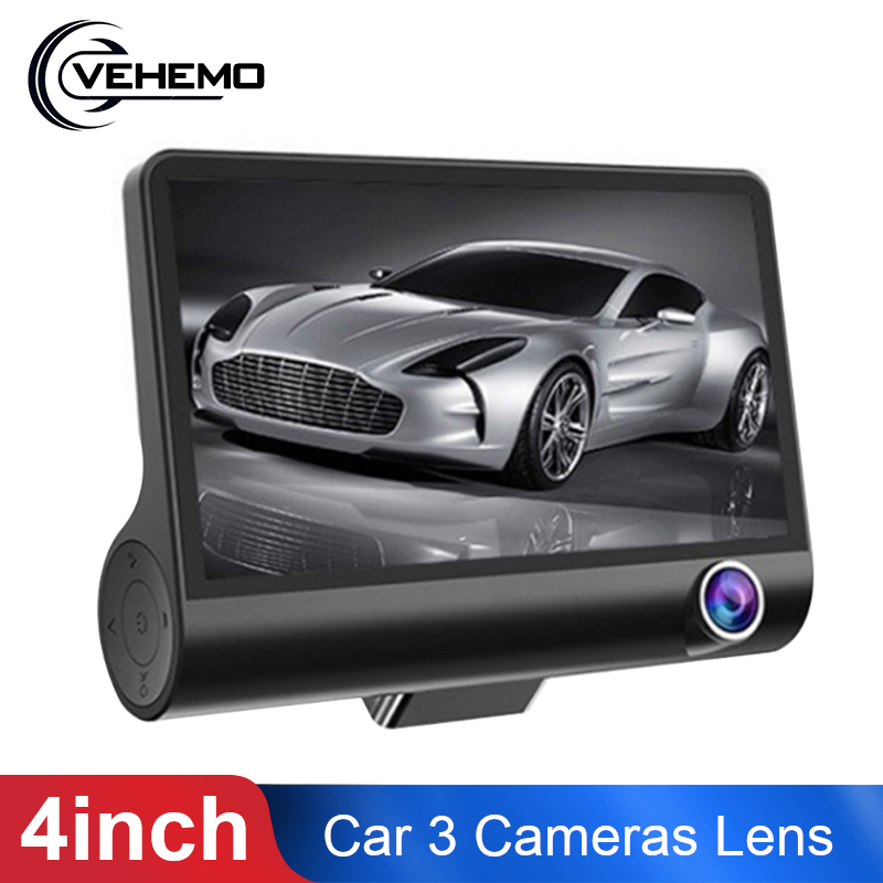 Car DVR Dash-Cam Video-Recorder Rearview-Camera Auto-Registrator 3-Cameras-Lens 1080P