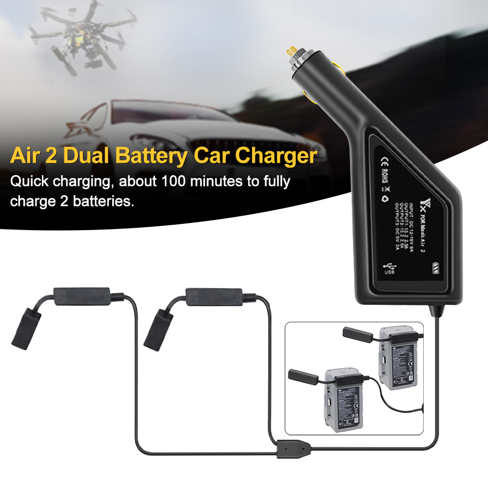 Car Charger Practical Drone Accessories Dual Battery Remote Control USB Port Lightweight Outdoor Camping Durable For Mavic Air 2