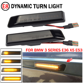 2PCS Dynamic Led Turn Signal Side Marker Lights Flowing LED Side Repeater Lamps For BMW E36 For BMW X5 E53 For BMW 3 Series image