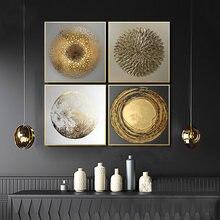 Abstrait or luxe affiches nordique toile Art peinture décor à la maison mur Art rétro impression salon Vintage minimaliste image