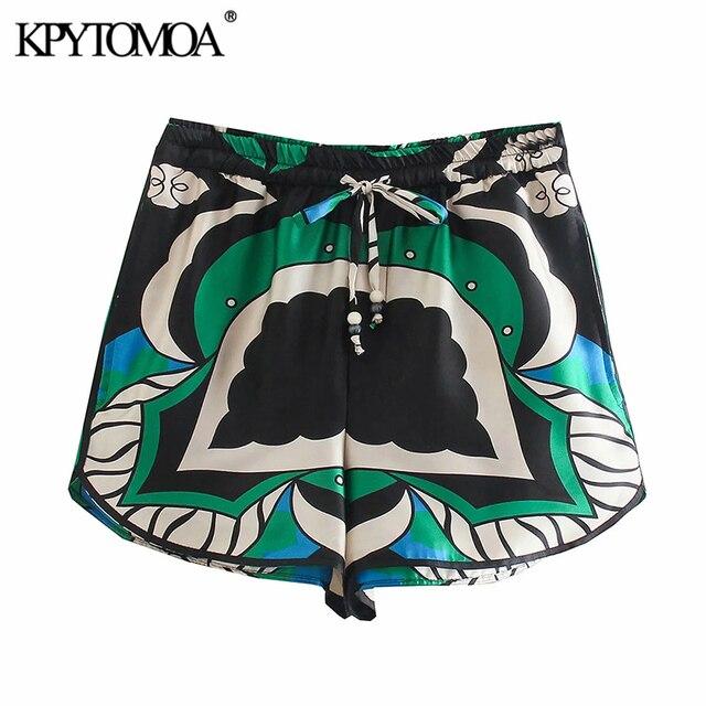 KPYTOMOA Women 2021 Fashion Side Pockets Printed Bermuda Shorts Vintage High Elastic Waist Side Vents Female Short Pants Mujer 1