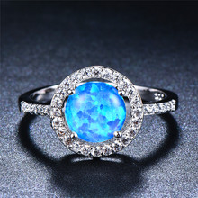 boho female blue opal stone ring dainty round crystal silver wedding rings for women cute bridal love heart engagement ring Dainty Female Blue Opal Stone Ring Elegant Round Thin Zircon Wedding Rings For Women Trendy Bridal Silver Engagement Ring
