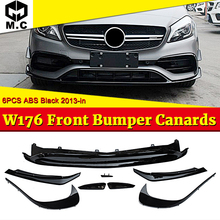For MercedesMB A-Class W176 a180 a200 a250 ABS Front Bumper Lip Canards 8 pieces/set  A45AMG Style Front bumper Splitter 16-in цены онлайн