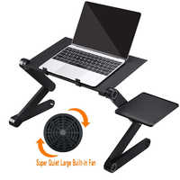 Adjustable Laptop Desk with Cooling Fan Ergonomic Portable Bed Lapdesk Tray PC Table Stand Notebook Desk Stand With Mouse Pad