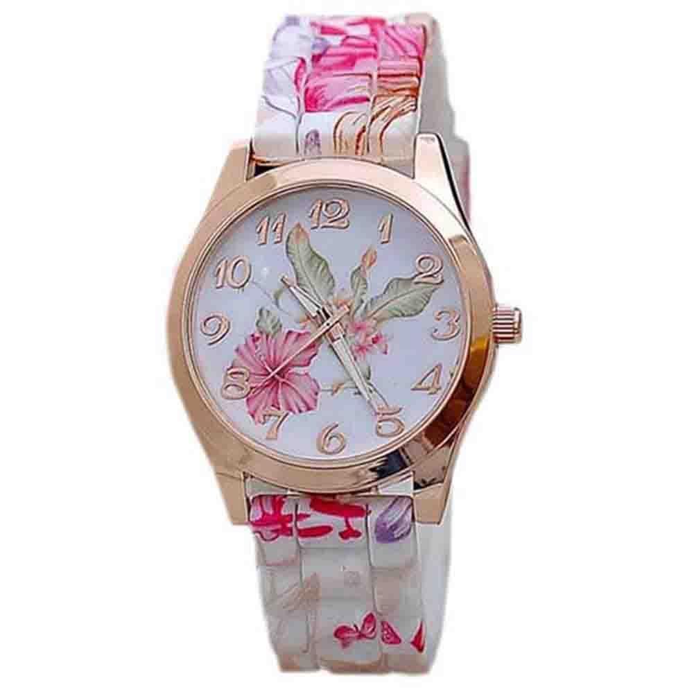 Retro Silicone Quartz Watch Women Ladies Fashion Flower Printed Bracelet Watch Clock Relogio Feminino Women Watches Reloj Mujer