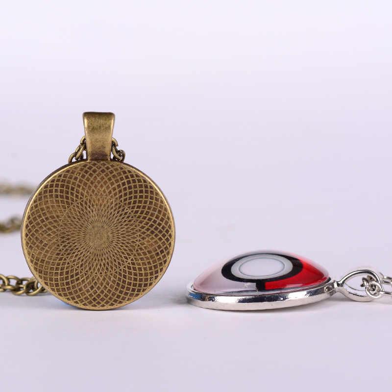 Songda Opium Bunga Liontin Kalung Bunga Merah Tanaman Gambar Seni Cetak Kubah Kaca Perak Rantai Panjang Kalung Perhiasan untuk Wanita