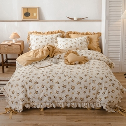 Kuning Bunga Cetak Duvet Cover dengan Dasi Poliester Lembut Sprei Set 100% Katun Set Tempat Tidur untuk Anak Perempuan 4 buah Ratu King Size
