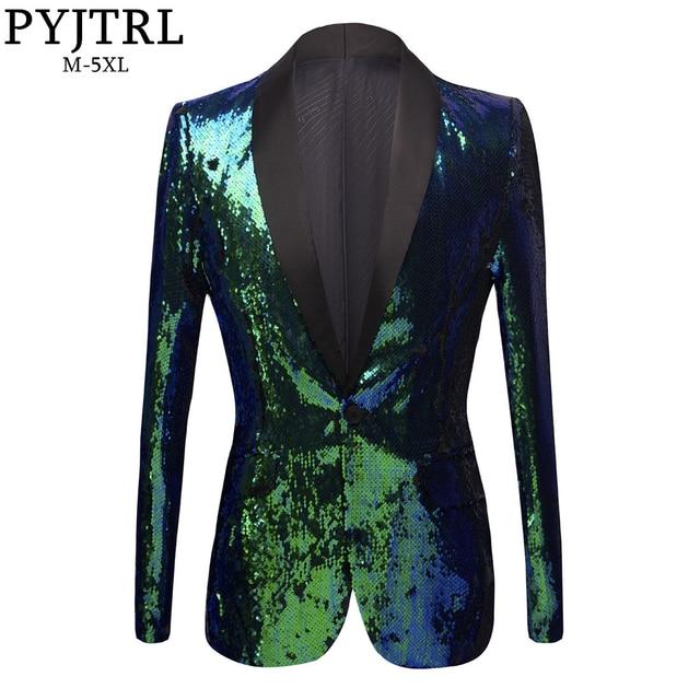 PYJTRL New Mens Shawl Lapel Shiny Green Blue Sequins Blazers DJ Night Club Slim Fit Suit Jacket Stage Singers Costume Prom Dress