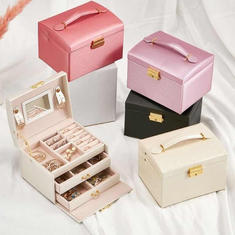Organizador de joyas, joyero grande, joyero de alta capacidad, organizador de maquillaje, organizador de maquillaje, caja de viaje de cuero de belleza