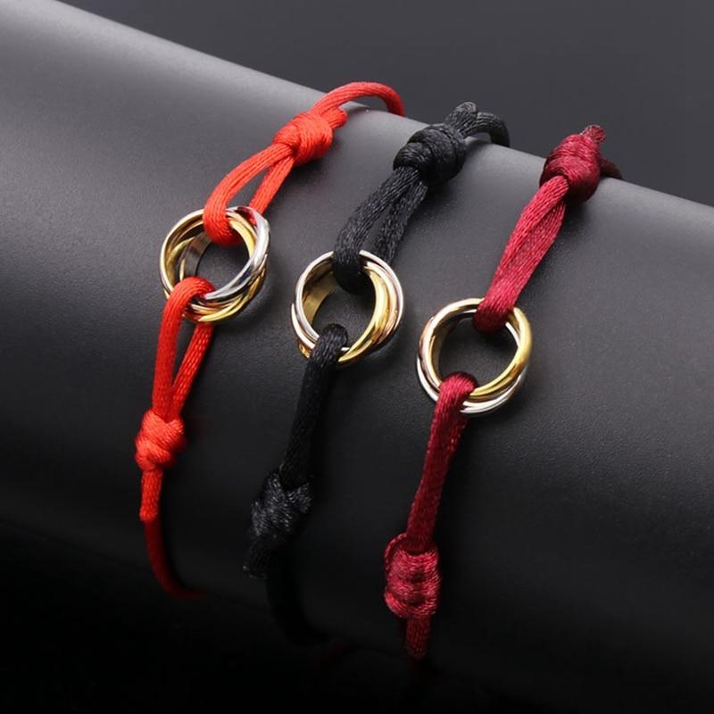 No Stone Three Tone Color Round Colorful Rope Bracelet Stainless Steel Handmade Multi Circle Rope Bracelet Women Wedding Jewelry